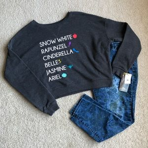 NWT Gray Soft Disney Princess Crop Sweatshirt